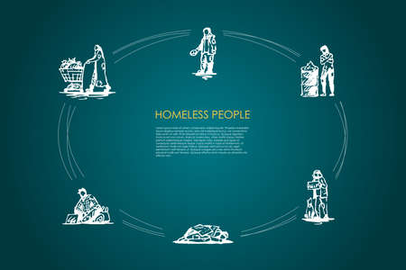 Homeless people - people begging for money and food, sleeping on street, warming up near fire, collecting garbage vector concept set. Hand drawn sketch isolated illustration Vektorgrafik