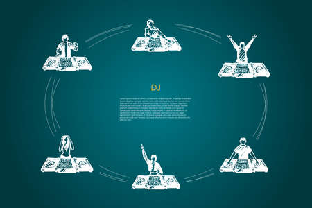 DJ - men and women DJs in headphones playing music vector concept set. Hand drawn sketch isolated illustration