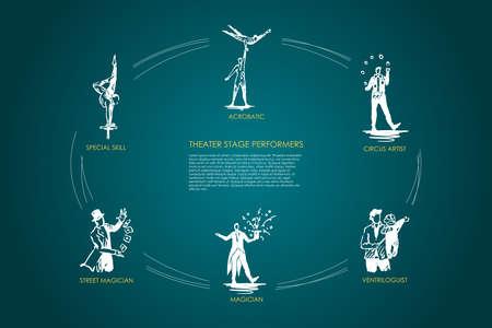 Performance théâtrale - acrobatique, artiste de cirque, ventrologue, magicien, magicien de rue, ensemble de concepts vectoriels de compétences spéciales. Illustration isolée de croquis dessinés à la main Vecteurs