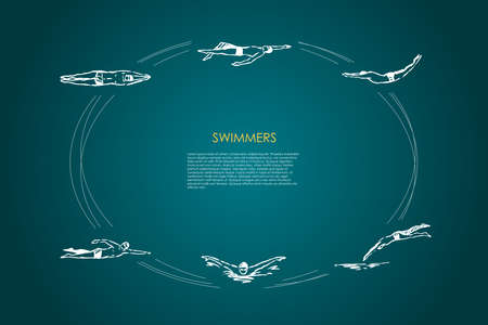 Swimmers - male sportsmen swimming in traditional cap in different poses vector concept set. Hand drawn sketch isolated illustration
