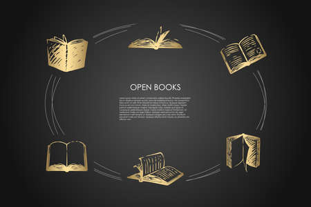 Open books - books with open pages and coverings vector concept set. Hand drawn sketch isolated illustration