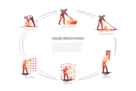House renovation - cutting tiles, mixing cement, waterproofing, painting, grouting, wall tiling vector concept set. Hand drawn sketch isolated illustration