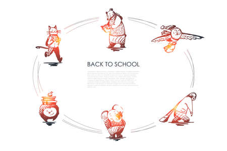 Back to school - cat with satchel, bear with book, bird with bag, panda with schoolbag, hedgehog with heap of books and reading elephant vector concept set. Hand drawn sketch isolated illustration