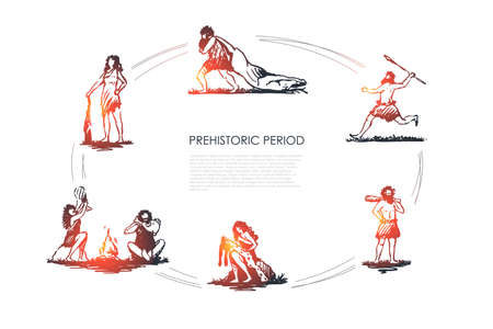 Prehistoric people - men and women aborigines carrying killed animal, throwing spear, standing with bludgeon, processing skin, making fire vector concept set. Hand drawn sketch isolated illustration