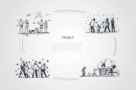 Family - family spending time together outdoors during all seasons of year vector concept set. Hand drawn sketch isolated illustration