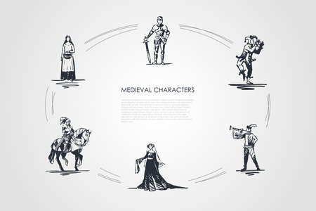 Medieval characters - knight, troubadour, buffon, peasant woman and countess vector concept set. Hand drawn sketch isolated illustration