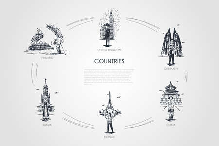 Countries - Finland, United Kingdom, Germany, France, Russia, China vector concept set. Hand drawn sketch isolated illustration