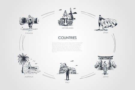 Countries - Netherlands, Spain, Canada, Australia, Italy, Japan vector concept set. Hand drawn sketch isolated illustration