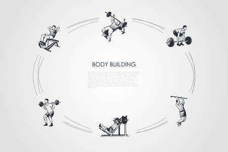 Body building - man making exercises with barbell in gym vector concept set. Hand drawn sketch isolated illustration Illustration