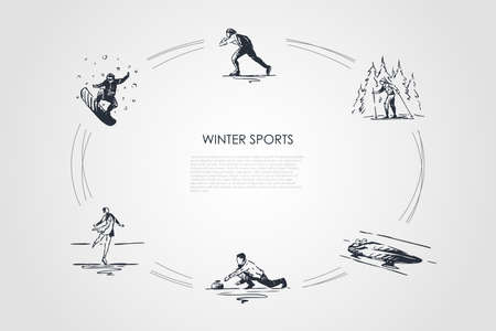 Winter sports - snowboard, skating, skiing, figure skating, bobsleigh, curling vector concept set. Hand drawn sketch isolated illustration