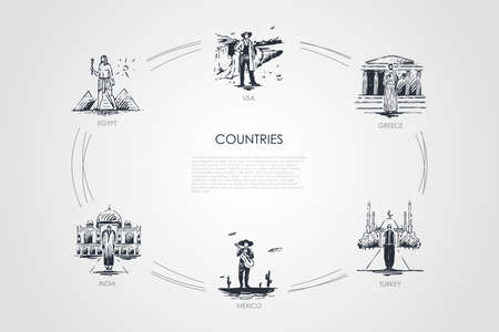 Countries - Egypt, Greece, USA, Turkey, Mexico, India vector concept set. Hand drawn sketch isolated illustration