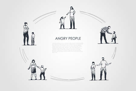 Angry people - angry women and men with children showing negative emotions vector concept set. Hand drawn sketch isolated illustration