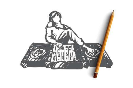 DJ, musique, club, discothèque, concept de fête. DJ dessiné à la main dans un croquis de concept de boîte de nuit. Illustration vectorielle isolée. Vecteurs