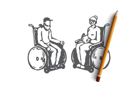 Old, senior, wheelchair, nursing, age concept. Hand drawn old couple in a nursing home on wheelchairs concept sketch. Isolated vector illustration.