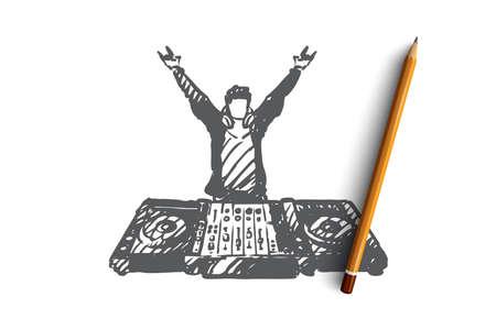 DJ, musique, club, discothèque, concept de fête. DJ dessiné à la main dans un croquis de concept de boîte de nuit. Illustration vectorielle isolée.