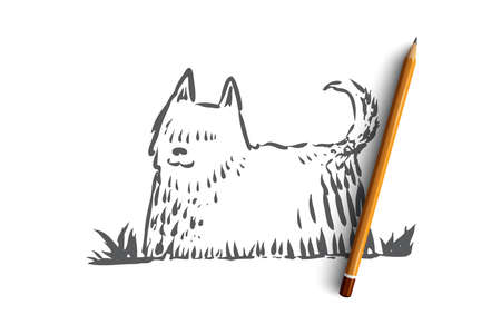 Dog, walking, outdoor, pet, domestic concept. Hand drawn home dog walking concept sketch. Isolated vector illustration. Иллюстрация