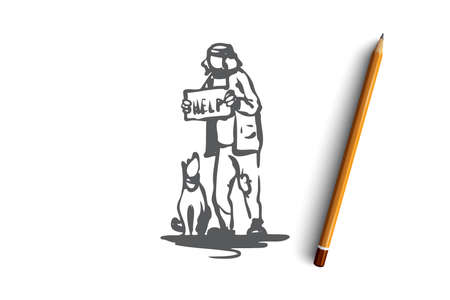 Beggar, dog, outdoor, poor, pet concept. Hand drawn beggar with dog asking for money concept sketch. Isolated vector illustration. Illustration