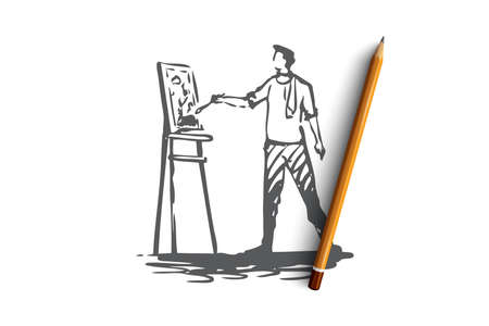Artist, drawing, painter, brush concept. Hand drawn male artist drawing concept sketch. Isolated vector illustration.