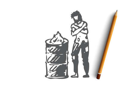 Homeless, fire, poor, problem, trouble concept. Hand drawn homeless man is heated by the fire concept sketch. Isolated vector illustration.
