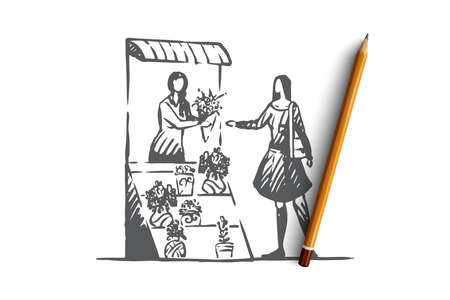 Floral, shop, bouquet, woman, store concept. Hand drawn woman buys flowers in a stall concept sketch. Isolated vector illustration. Stock Illustratie