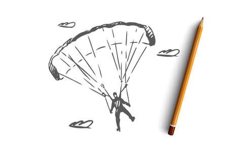 Paracaidista, extremo, paracaidismo, deporte, concepto de mosca. Paracaidista dibujado a mano en un boceto de concepto de paracaídas deportivos. Ilustración de vector aislado.