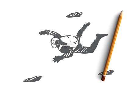 Extrem, Sprung, Fallschirm, Fallschirmspringen, Fallkonzept. Handgezeichnete eine Person, die in Himmelskonzeptskizze fliegt. Isolierte Vektor-Illustration.