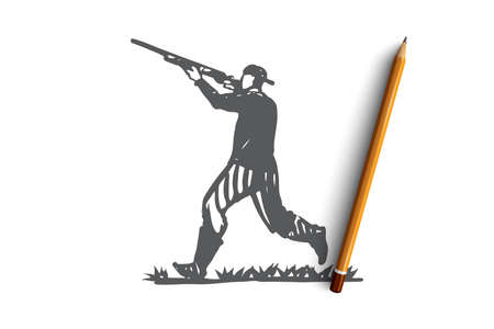 Hunter, rifle, shooting, weapon, man concept. Hand drawn hunter shoots a gun concept sketch. Isolated vector illustration.