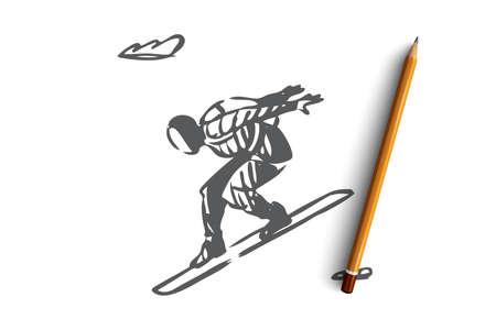 Parachute, extrême, saut, planche, concept d'activité. Saut en parachute dessiné à la main à bord pour le croquis de concept de ski. Illustration vectorielle isolée.