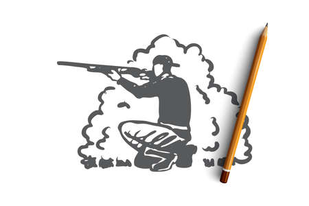 Hunting, rifle, hobby, extraction, rifle concept. Hand drawn hunter aiming at the extraction concept sketch. Isolated vector illustration.