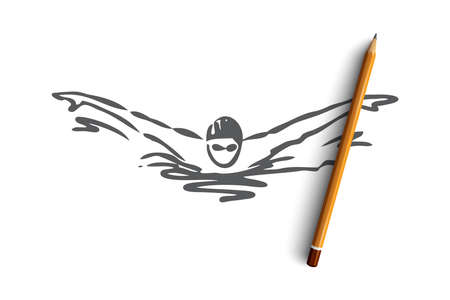 Swimming, butterfly, stroke, athlete, pool concept. Hand drawn man swimming butterfly in pool concept sketch. Isolated vector illustration. Illustration