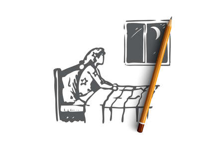 Insomnia, bed, woman, night, problem concept. Hand drawn person with night insomnia concept sketch. Isolated vector illustration.