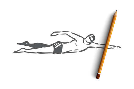 Swimming crawl, sport, pool, water, active concept. Hand drawn man swimming crawl in pool concept sketch. Isolated vector illustration.