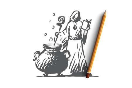 Magic, sorcerer, brew, potion concept. Hand drawn sorcerer brews a potion concept sketch. Isolated vector illustration.