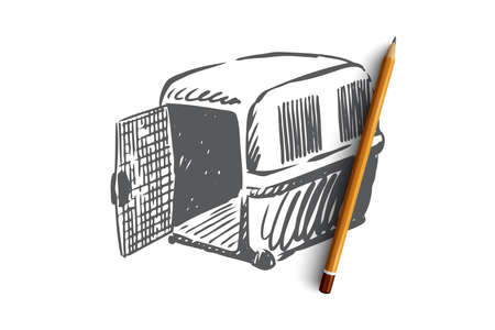 Pet, animal, carrier, cage, transportation concept. Hand drawn pet carrier for transportation concept sketch. Isolated vector illustration.