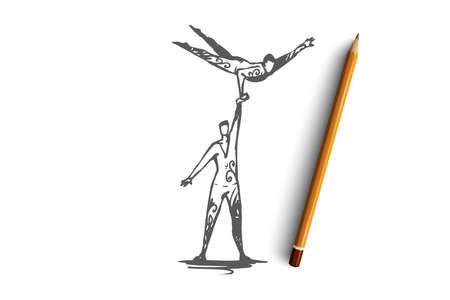 Acrobatie, cirque, équilibre, performance, concept de coopération. Deux acrobates dessinés à la main se produisant sur un croquis de concept de scène. Illustration vectorielle isolée.