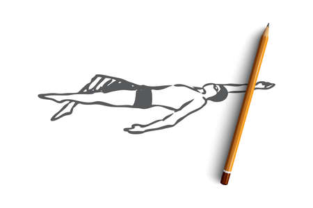 Backstroke, swim, sport, pool, competition concept. Hand drawn man swimming backstroke concept sketch. Isolated vector illustration.