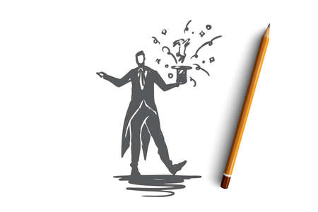 Magician, man, trick, hat, show concept. Hand drawn wizard doing a trick concept sketch. Isolated vector illustration. Ilustrace