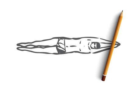 Braza, natación, deporte, piscina, concepto de nadador. Boceto de concepto de braza de natación de hombre dibujado mano. Ilustración de vector aislado.