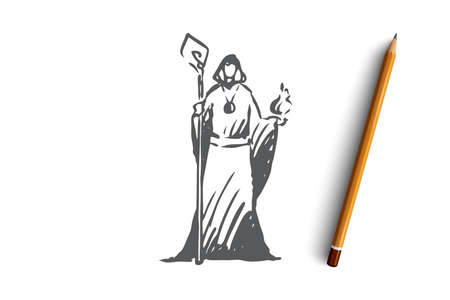 Magician, wizard, magician, healer, psychic concept. Hand drawn wizard in a fantasy dress concept sketch. Isolated vector illustration.  イラスト・ベクター素材