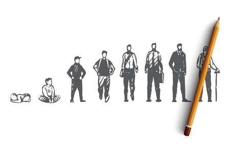 Aging, male, boy, man, old, people concept. Hand drawn human generation from child to adult concept sketch. Isolated vector illustration.