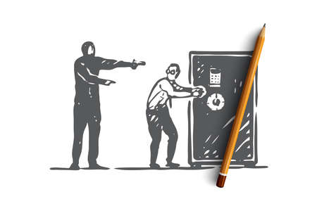 Bank, heist, crime, robbery, thief concept. Hand drawn thieves steal money from safe concept sketch. Isolated vector illustration.