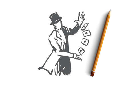 Street, wizard, magic, performance, cart concept. Hand drawn magician performing on street concept sketch. Isolated vector illustration. Ilustrace