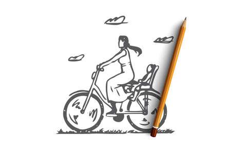 Mom, bike, child, ride, parent concept. Hand drawn mom with child ride on bike concept sketch. Isolated vector illustration. Ilustrace