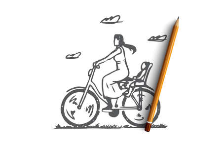 Mom, bike, child, ride, parent concept. Hand drawn mom with child ride on bike concept sketch. Isolated vector illustration. Illustration