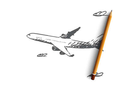 Airplane, sky, flight, transport, trip concept. Hand drawn airplane flying in the sky concept sketch. Isolated vector illustration.