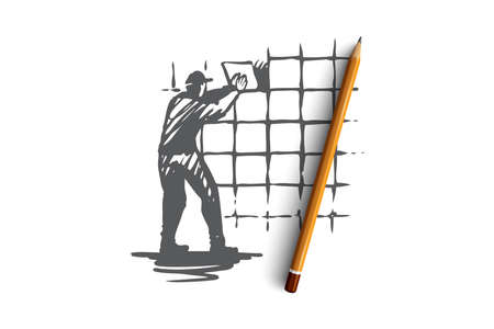 Wall tiling, house, repair, worker concept. Hand drawn worker doing repair with new tile concept sketch. Isolated vector illustration. Ilustracja