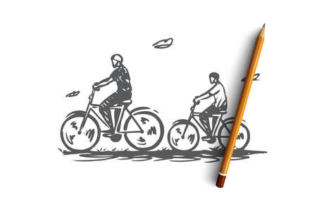 Dad, son, bike, active, together concept. Hand drawn dad and son ride a bike together in nature concept sketch. Isolated vector illustration.