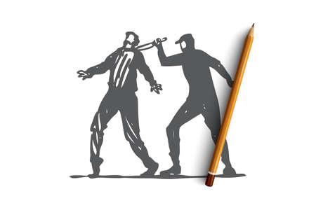 Murder, crime, criminal, victim, knife concept. Hand drawn murder attacks man with knife concept sketch. Isolated vector illustration.  イラスト・ベクター素材