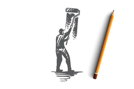 Painting, wall, brush, roller, design concept. Hand drawn painter with roller brush painting wall concept sketch. Isolated vector illustration. Ilustrace