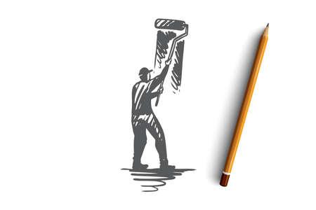 Painting, wall, brush, roller, design concept. Hand drawn painter with roller brush painting wall concept sketch. Isolated vector illustration. Ilustração